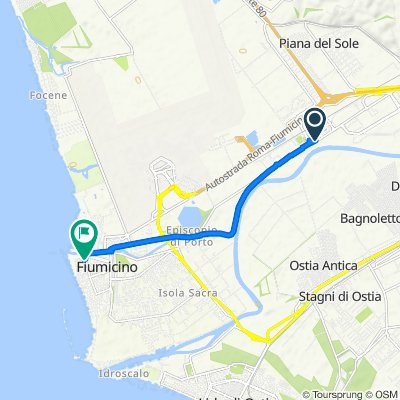 Da Via Portuense, Fiumicino a Largo Marinai d'Italia, Isola Sacra