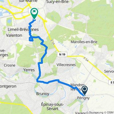 De 1 Route de Brie-Comte-Robert, Périgny-sur-Yerres à 53 Rue Alphonse Daudet, Limeil-Brévannes