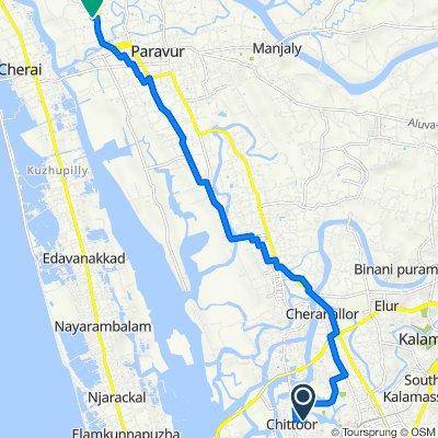 HMCA Road, Ernakulam to Kunjithai Road, North Paravur