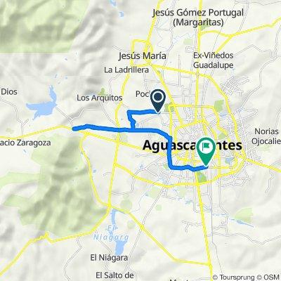 De Avenida Eugenio Garza Sada, La Plazuela a Calle Sonora 130, Aguascalientes