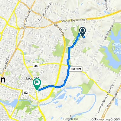 Route to 5200 Bolm Rd, Austin