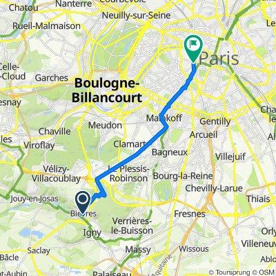 De 5 Place de l'Église, Bièvres à 2 Rue de la Chaise, Paris