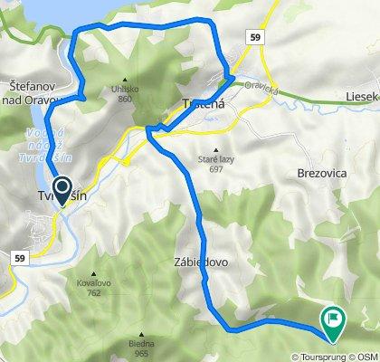 Tvrdošín - Ústie nad Priehradou - Oravská Priehrada - Trstená - Zábiedovo