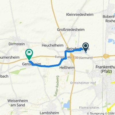 Isenachweg, Beindersheim nach Dreizehn Morgen Süd 1, Gerolsheim