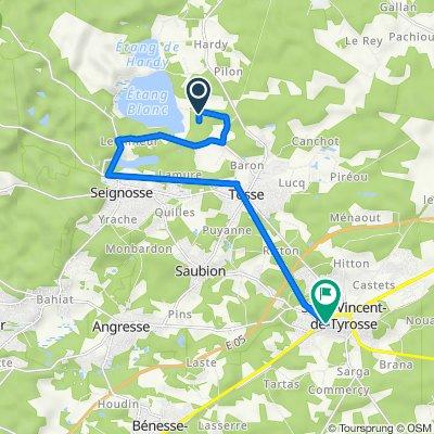 De Route de l'Étang, Tosse à 1B Avenue du Parc, Saint-Vincent-de-Tyrosse