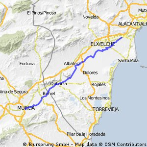 Murcia Alicante Bikemap Your bike routes