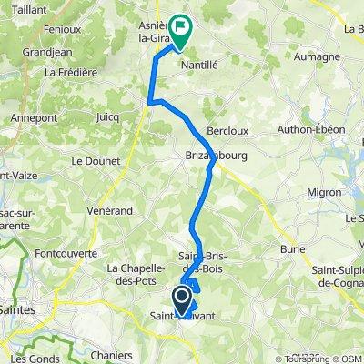 De Rue du Marché 10, Saint-Sauvant à Chemin du Buisson 22, Asnières-la-Giraud