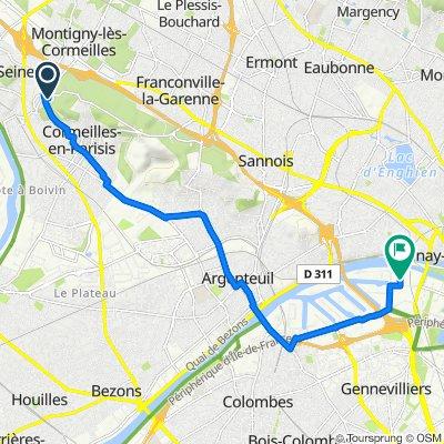 De 3 Avenue du Château, Montigny-lès-Cormeilles à 38–74 Impasse des Petits Marais, Genneviliers