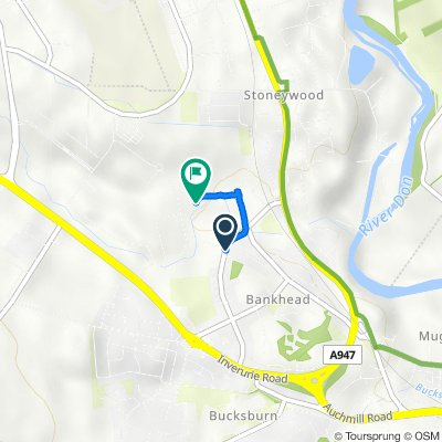 Route from 79 Greenburn Road, Aberdeen