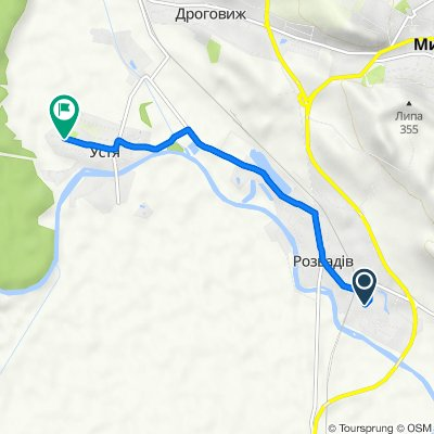 Route to ulica Tarasa Szewczenki, 17, Ustya
