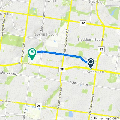 Route from 189 Burwood Highway, Burwood East