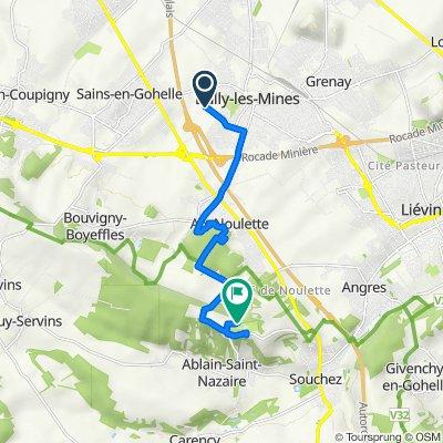 De 164 Rue Marcel Sagnol, Bully-les-Mines à 4 Place de Notre-Dame de Lorette, Ablain-Saint-Nazaire