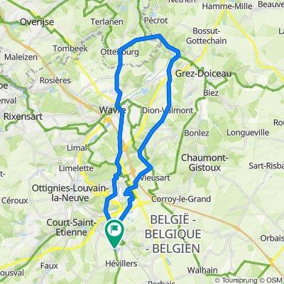 De Rue du Riquau 9, Mont-Saint-Guibert à Rue du Riquau 9, Mont-Saint-Guibert