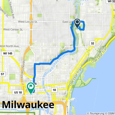 Route to 755 N James Lovell St, Milwaukee