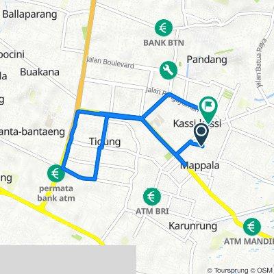Aspol Toddopuli Blok A 15, Kecamatan Manggala to Jalan Toddopuli Raya 73, Kecamatan Panakkukang