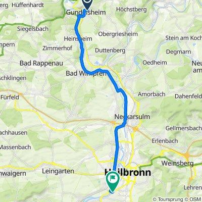 Route von Panoramastraße 24, Gundelsheim am Neckar