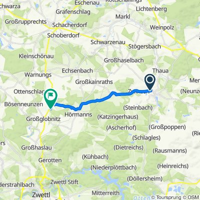 Route von Neubaustraße 20, Allentsteig