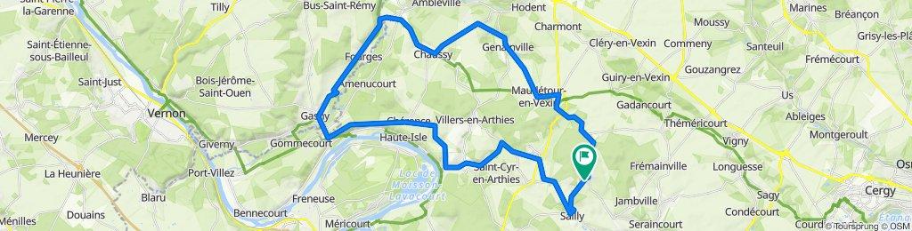 route Lainville en vexins 50 km