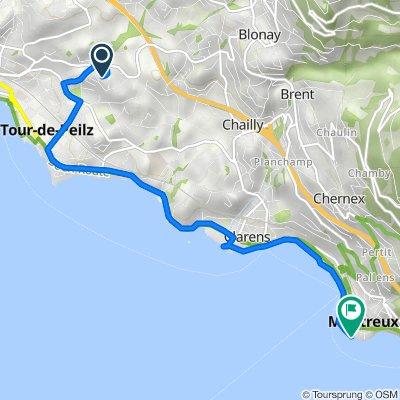 Route de Blonay 114A, La Tour-de-Peilz nach Quai Ernest-Ansermet 4B–6, Montreux