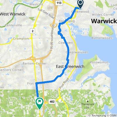 596 Main Ave, Warwick, RI 02886 USA to 2725 S County Trl, East Greenwich, 02818 USA