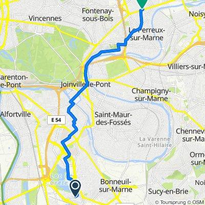 De Rue Dominique Duvauchelle, Créteil à 5 Rue Pasteur, Le Perreux-sur-Marne