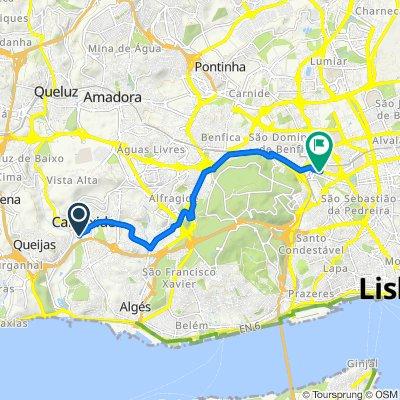 De Rua Amélia Rey Colaço 52A, Carnaxide a Avenida Columbano Bordalo Pinheiro 98B, Lisboa