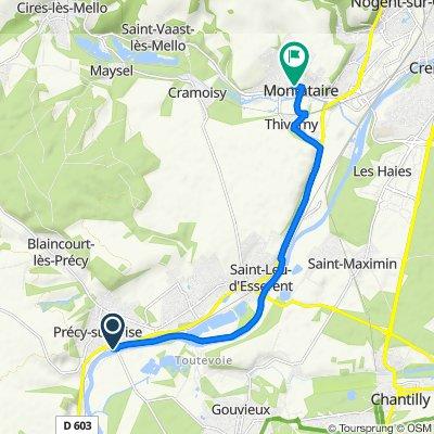 De Allée des Sycomores 11, Précy-sur-Oise à Rue des Chalets 19, Montataire