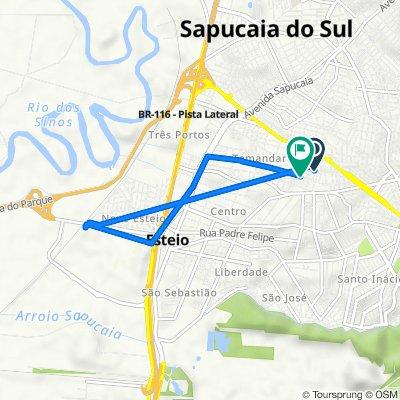 De Rua Chile, 164, Sapucaia do Sul a Rua Santa Rita de Cássia, 104, Esteio
