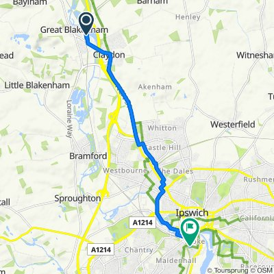 Route to 177–199 Rectory Road, Ipswich