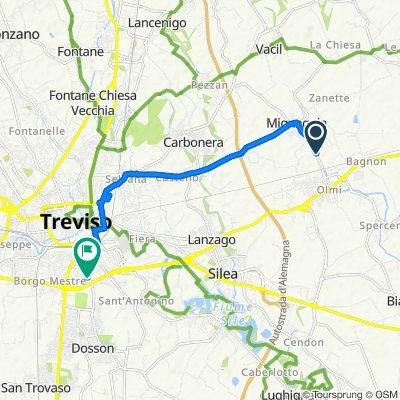 Da Via Duca d'Aosta 121, Carbonera a Via Zermanese 213, Treviso
