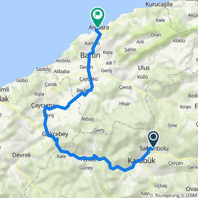 Alternatif 5 Safranbolu Amasra Arası 160 km yokuş aşağıya