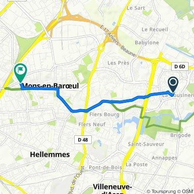 De 1 Chemin des Crieurs, Villeneuve-d'Ascq à 8 Rue Mirabeau, Mons-en-Barœul