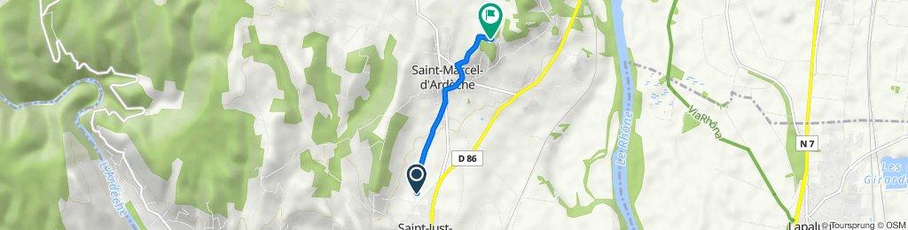 De 1399–1607 Chemin du Fez, Saint-Marcel-d'Ardèche à 770 Chemin de la Combe de Brissan, Saint-Marcel-d'Ardèche