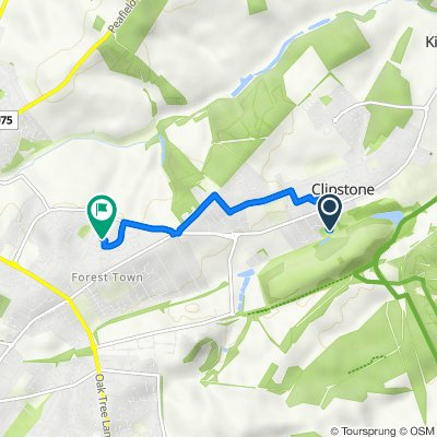 Route to 3 Cardle Close, Mansfield