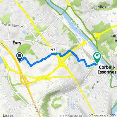 De Rue de l'Essonne, Evry à 14 Rue de Seine, Corbeil-Essonnes