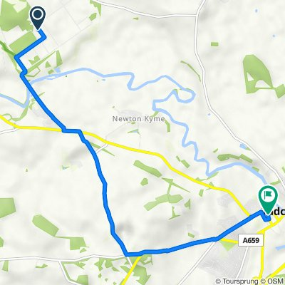 Route to 18 Chapel St, Tadcaster