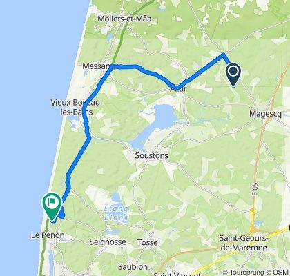 De 2981 Route de Léon, Magescq à 122 Avenue des Sylviculteurs, Seignosse