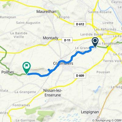 Itinéraire à partir de 2130 Traverse de Colombiers, Béziers