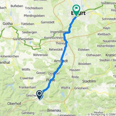 Ohrdrufer Straße 1, Geraberg nach Straße des Friedens 1, Erfurt