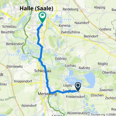 Leipziger Allee 5, Wallendorf (Luppe) nach Merseburger Straße 183, Halle (Saale)