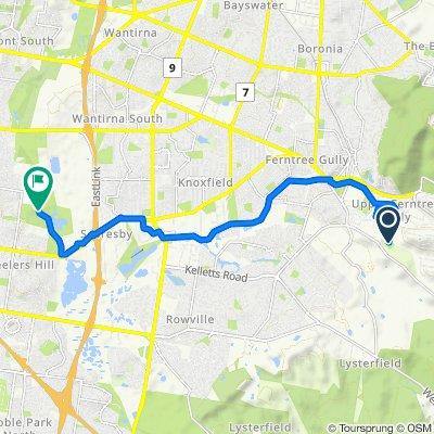 Route from New Road, Upper Ferntree Gully