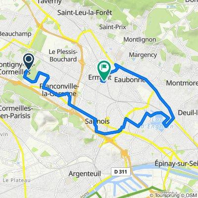 De Chemin de Montigny au Plessis-Bouchard, Franconville à 4 Rue de la Réunion, Ermont