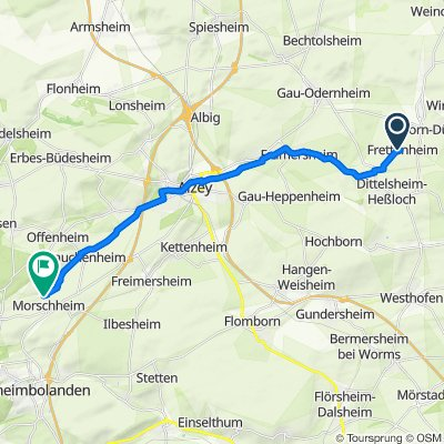 Route von Dittelsheimer Weg 7, Frettenheim