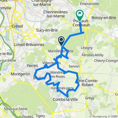 De Route Neuve de Sucy, Marolles-en-Brie à 22 Rue Édouard Lebeau, Pontault-Combault