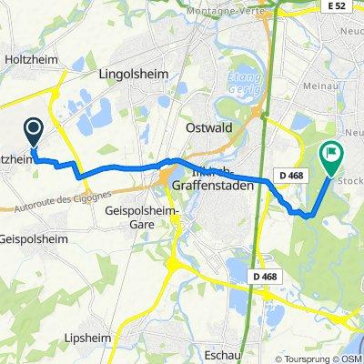 De 41 Rue du Charron, Entzheim à Route de la Faisanderie, Illkirch-Graffenstaden