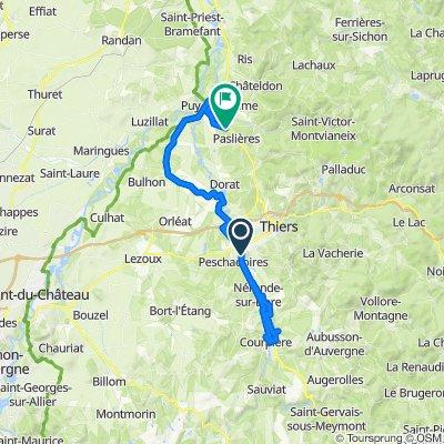 De Route de Courpière 57, Peschadoires à Les Charbonniers 22, Paslières