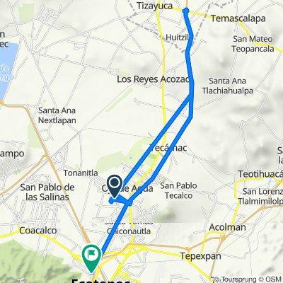 De Calle Paseo del Sol, San Pedro Atzompa a Calle Ecatepec 71-A, Ecatepec
