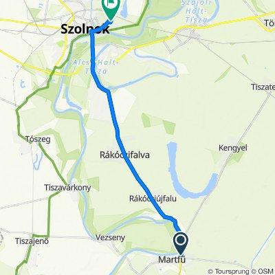 Martfű, vasútállomás to Mester utca 37, Szolnok