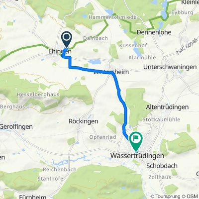 Kohlplatte 20, Ehingen nach Gerolfinger Straße 3, Wassertrüdingen