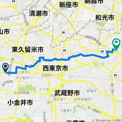 12, Tenjincho 1-Chōme, Kodaira to 1-28, Yahara 3-Chōme, Nerima